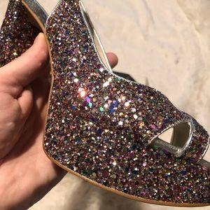 Nine West Rainbow Glitter Open Toe Slingback Heels